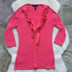 BCBG ruffle top, size XS coral pink